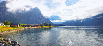 Fjord shore. In Norway panorama Royalty Free Stock Image
