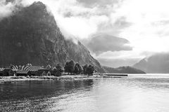 Fjord shore in Norway. Black and white Stock Photos