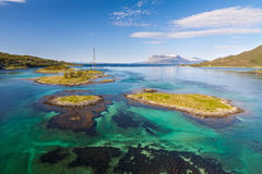 Fjord with small island. Tipical view of lofoten Royalty Free Stock Image