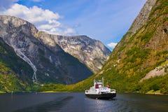 Fjord Sognefjord - Noorwegen Stock Foto