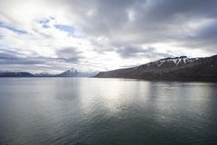 Fjord on Spitsbergen. The photo shows a bay on Spitsbergen during midsummer royalty free stock image