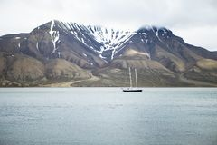 Fjord on Spitsbergen. The photo shows a bay on Spitsbergen during midsummer stock images