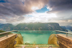 Fjord and Stegastein lookout in Norway Royalty Free Stock Images