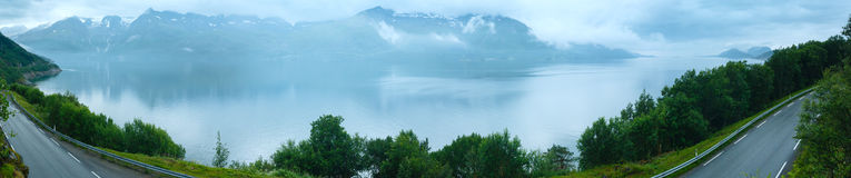 Fjord summer cloudy panorama (Norway) Stock Image