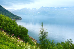 Fjord summer cloudy view (Norway) Stock Photo