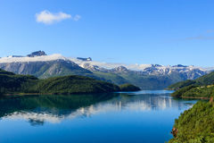 Fjord in sunlight. Royalty Free Stock Image