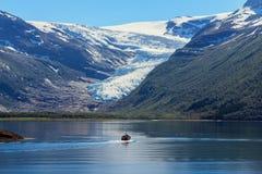 Fjord in sunlight. stock photos