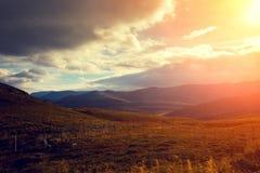 Fjord at sunset Stock Photos