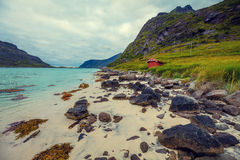 Fjord at sunset in rainy day Stock Photos