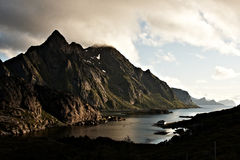 Fjord Twilight. Twilight over fjord in Lofoten in northern Norway Stock Images