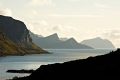 Fjord Twilight. Twilight over fjord in Lofoten in northern Norway Royalty Free Stock Photography