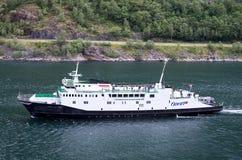 Fjord1 VEOY在盖朗厄尔峡湾,挪威的 免版税库存图片
