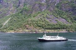 Fjord1 VEOY在盖朗厄尔峡湾,挪威 免版税库存照片