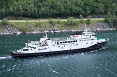 Fjord1 VEOY在盖朗厄尔峡湾,挪威 库存照片