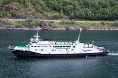 Fjord1 VEOY在盖朗厄尔峡湾,挪威 库存图片