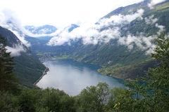Fjord view. View of Geirangerfjord in Norway, Scandinavia Royalty Free Stock Image