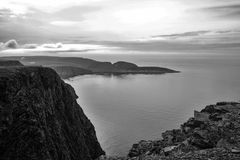 Fjord view in Norway black and white royalty free stock photos