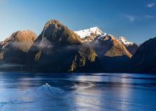 Fjord von Milford Sound in Neuseeland lizenzfreies stockbild