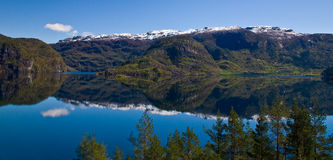 Fjord with water between the mountains Royalty Free Stock Images