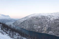 Fjord in the winter Stock Photo