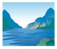 Fjordbild - naturligt landskap royaltyfri illustrationer
