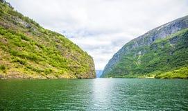 Fjorden in de Skandinavische aard van Noorwegen en Neroyfjord Stock Fotografie