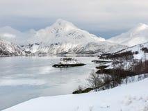 Fjordlandschap in de winter, Noorwegen Stock Afbeelding
