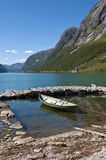 Fjords and boat Royalty Free Stock Photos