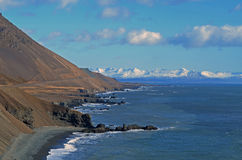 Fjords in Iceland. East fjords Iceland with snow in background Stock Photos