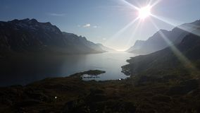The fjords. Inbetween mountains in northern Norway Royalty Free Stock Photography