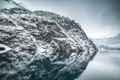 Fjords in Norway. Fjords. high mountains on twilights in Norway, winter Stock Photos