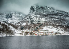 Fjords in Norway. Fjords. high mountains on twilights in Norway, winter Stock Image