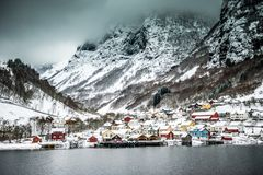 Fjords in Norway. Fjords. high mountains on twilights in Norway, winter Royalty Free Stock Photos