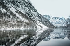 Fjords in Norway. Fjords. high mountains on twilights in Norway, winter Royalty Free Stock Photography