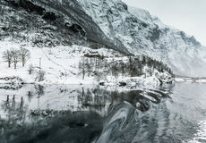 Fjords in Norway. Fjords. high mountains on twilights in Norway, winter Royalty Free Stock Photo