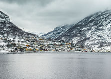 Fjords in Norway. Fjords. high mountains on twilights in Norway, winter Stock Images