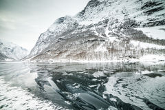 Fjords in Norway. Fjords. high mountains on twilights in Norway, winter Royalty Free Stock Image