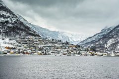 Fjords in Norway. Fjords. high mountains on twilights in Norway, winter Royalty Free Stock Images