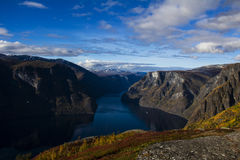 The Fjords of Norway. Hiking along Aurlandsfjorden in Norway, Fall 2015 Stock Image