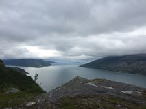 Nordic mountains and fjords, in Norway. stock photo