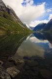 Fjords of Norway with snowy peaks. Beautiful Fjords of Norway with snowy peaks Stock Image