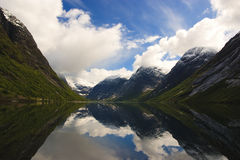 Fjords of Norway with snowy peaks Royalty Free Stock Images