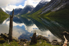 Fjords of Norway with snowy peaks Stock Images