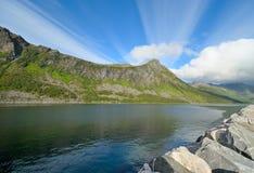 Fjordufer in Norwegen Stockfotos
