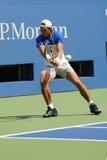 Fjorton mästare Rafael Nadal för storslagen Slam för tider av Spanien öva för US Open 2015 Royaltyfria Bilder
