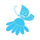 Fjäril på kamomill Arkivfoton