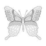 Fjärilsfärgläggningbok för vuxen människavektor Arkivbilder