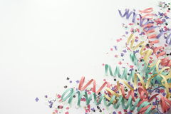 Flámula del confeti del partido en blanco Fotografía de archivo