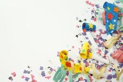 Flámula del confeti en el fondo blanco Foto de archivo libre de regalías