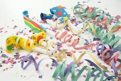 Flámula y noisemaker del confeti del partido Imagen de archivo libre de regalías